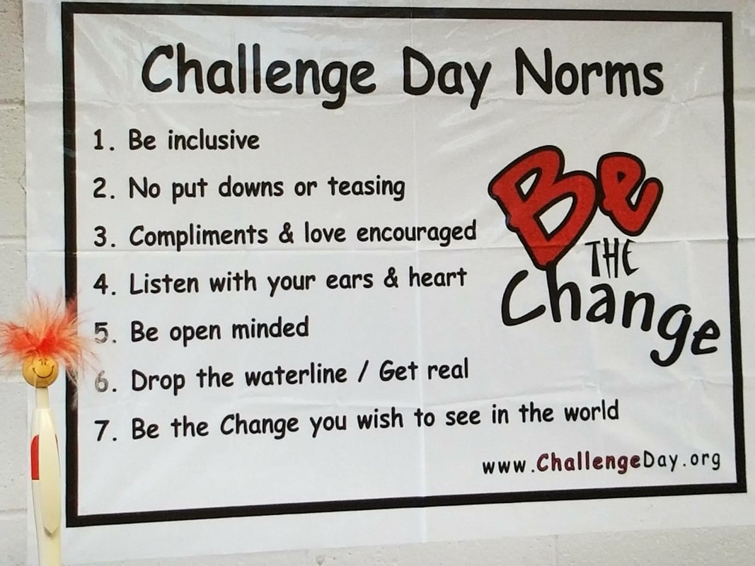 Peppy in front of a Challenge Day Norms poster reading